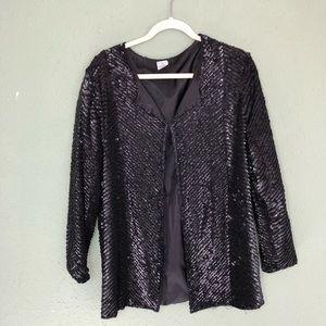 Jackets & Blazers - Black Silk Beaded Evening Jacket Size XL